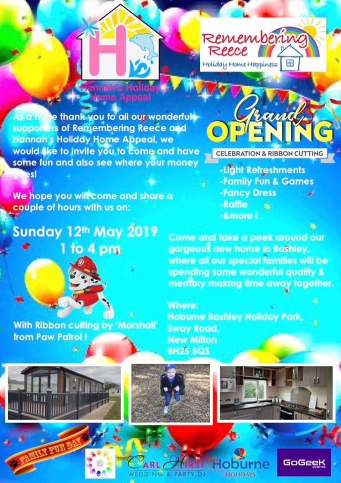 Sunday 12th May – Grand Opening of Reece's Retreat